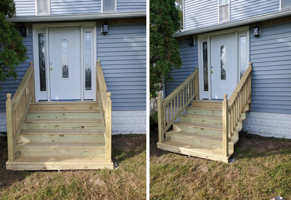 Before After stair and door install by Hercules Construction LLC in Rockford