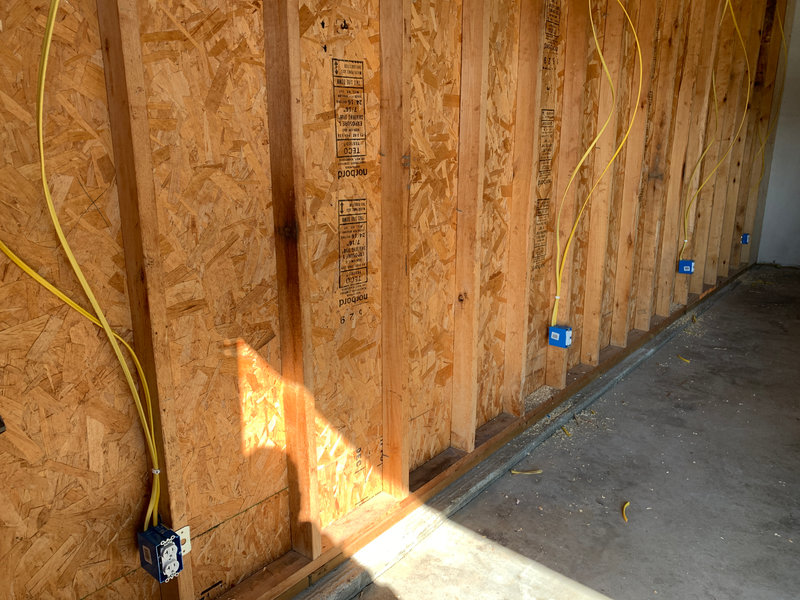 New outlets being installed in garage