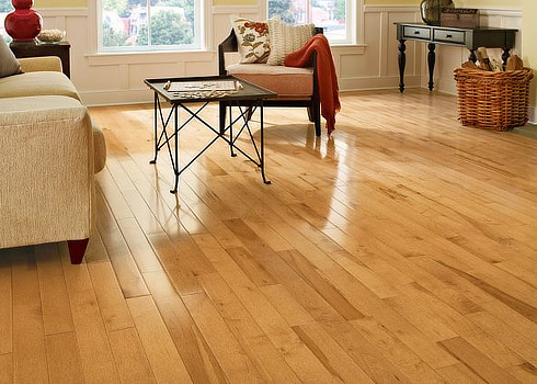 maple hardwood floor example in living room