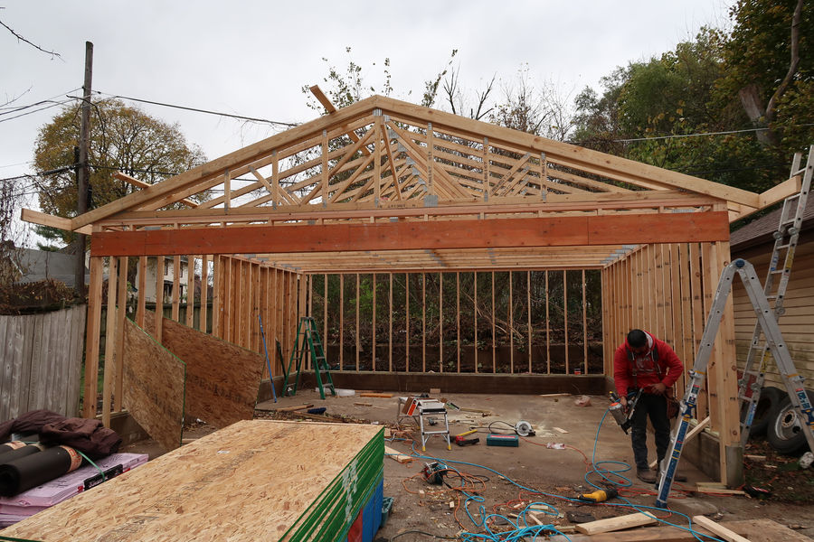 Frame work of new garage build in Rockford IL
